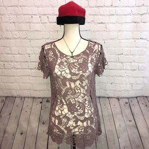 Maurices Purple Lace Look Top